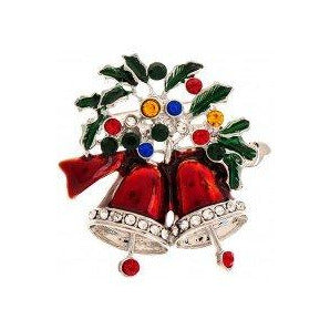 Double Ringing Bells Wreath Pin with Magnetic Closure - Smockingbird's
