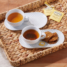 Load image into Gallery viewer, Earthenware Patterned Cup and Saucer Snack Plate Set - Smockingbird's