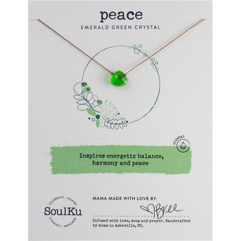 Emerald Green Crystal Soul Shine Necklace for Peace - smockingbird's