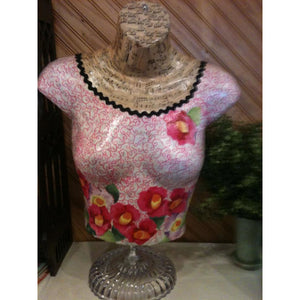 Hand made dress form with pink flowered dress