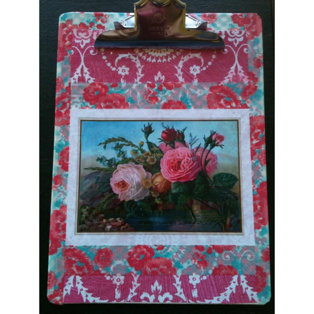 Roses, original mixed media collage art clipboard - Smockingbird's Unique Gifts & Accessories,  LLC