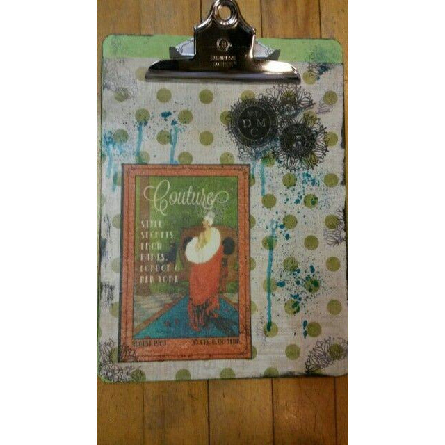 Couture clipboard with green dots