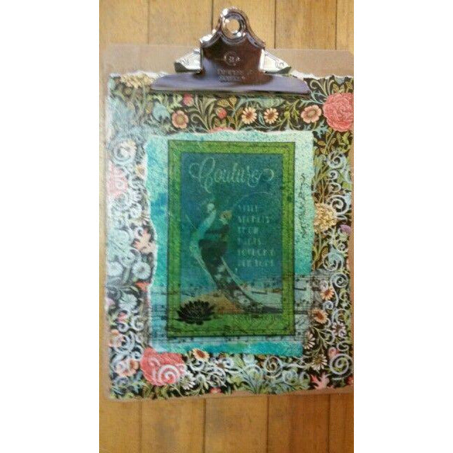 Couture peacock original mixed media clipboard - Smockingbird's Unique Gifts & Accessories,  LLC