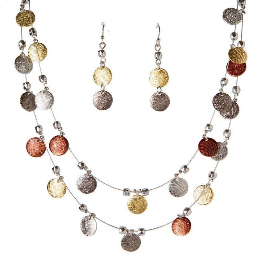Tri-tone Disc on wire Necklace Set
