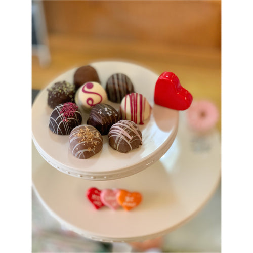 Handmade Chocolate Truffles on Nora Fleming Cake Pedestal -Smockingbird's