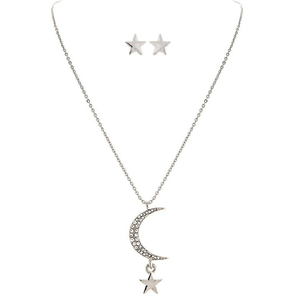 Pave Moon Star Dainty Necklace Set