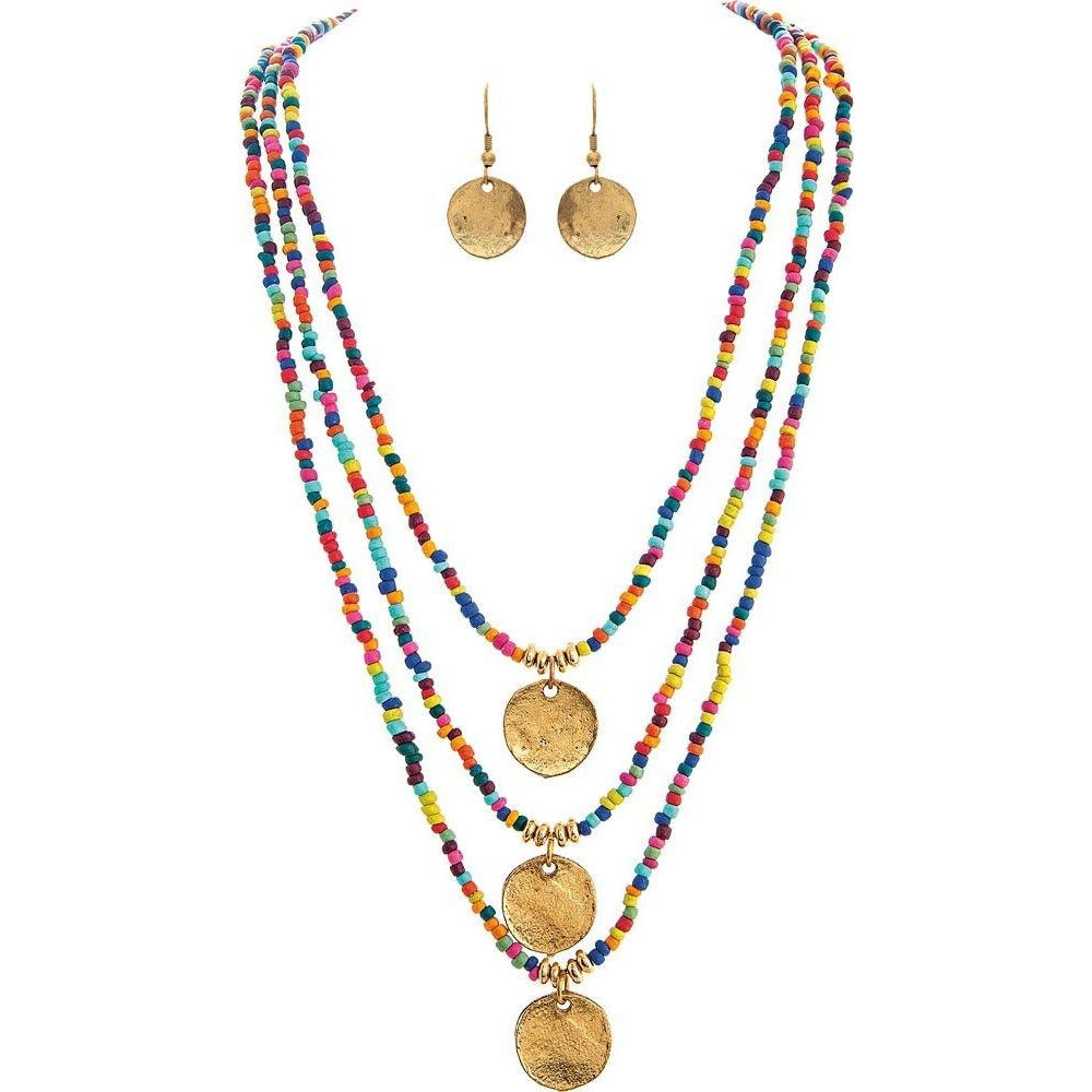 3 Row Boho Rainbow Bead with Gold Charms Necklace and Earrings Set