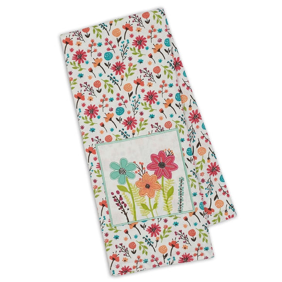 Wild Flowers Embellished Dishtowel
