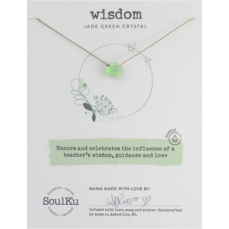 Jade Green Crystal Soul Shine Necklace for Wisdom - Smockingbird's