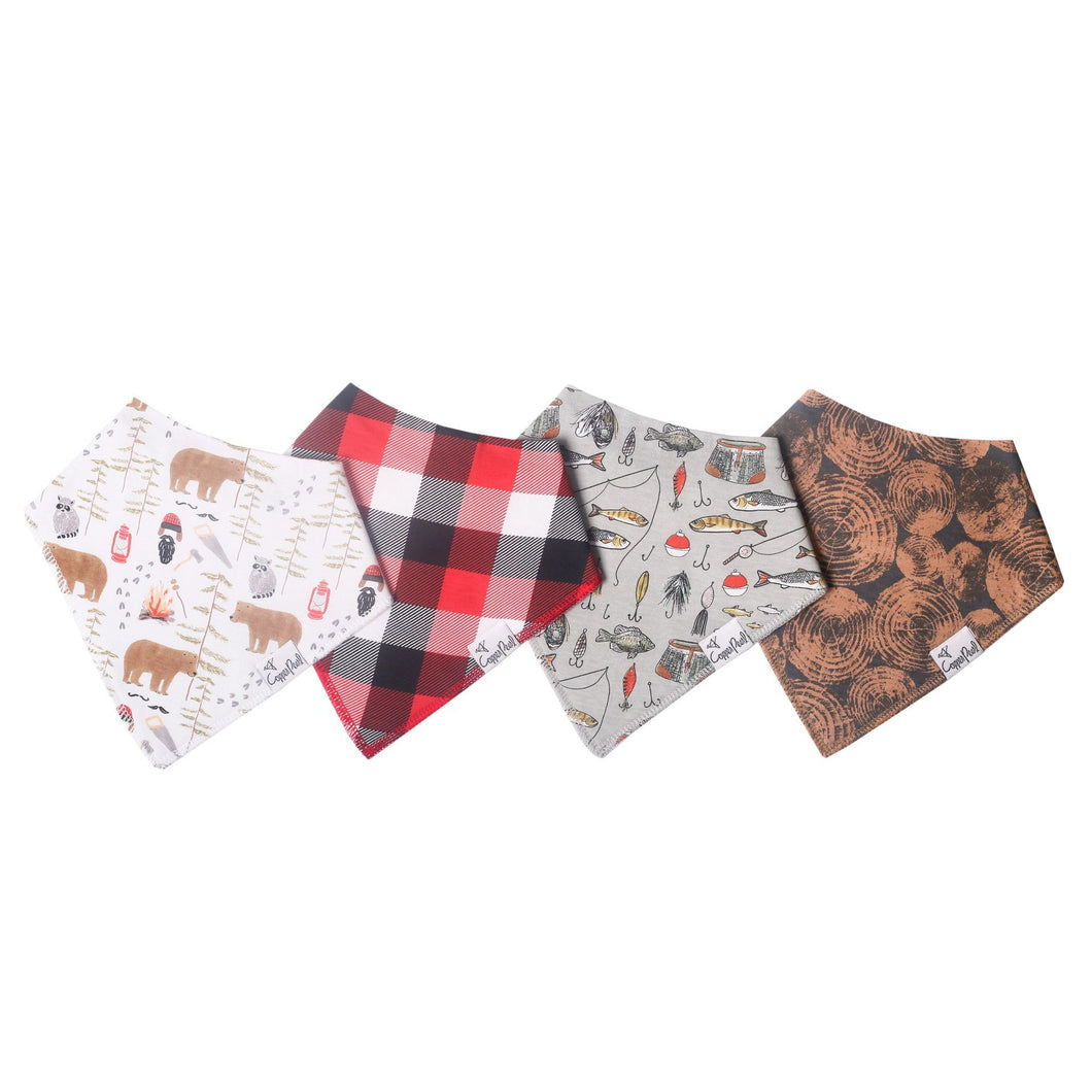 Lumberjack Copper Pearl Knit Bandana Bib Set - Smockingbird's