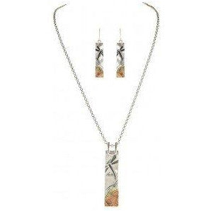 Multi Metal Dragonfly Plate Necklace and Earring Set - Smockingbird's
