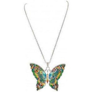 Multicolored Cloisonne Butterfly Necklace - Smockingbird's