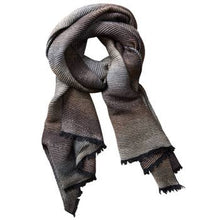 Load image into Gallery viewer, Ombre Brown and Gray Ridged Scarf - Smockingbird's