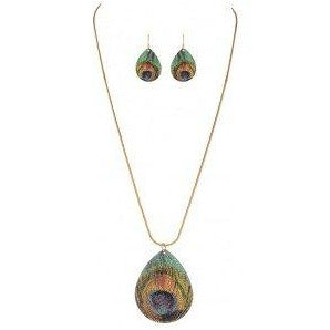 Peacock Pattern Teardrop Necklace Set - Smockingbird's