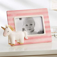 Load image into Gallery viewer, Pink Stripe Unicorn Frame on Table - Smockingbird's