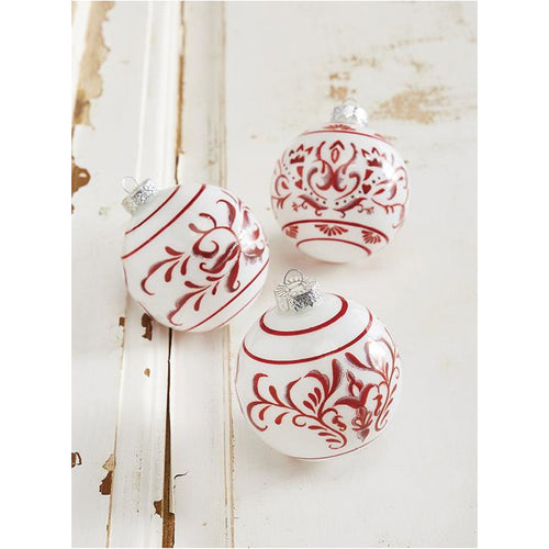 Red & White Patterned Ball Ornament - Smockingbird's