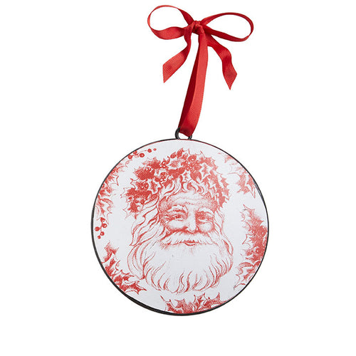 Red & White Santa Disc Ornament - Smockingbird's