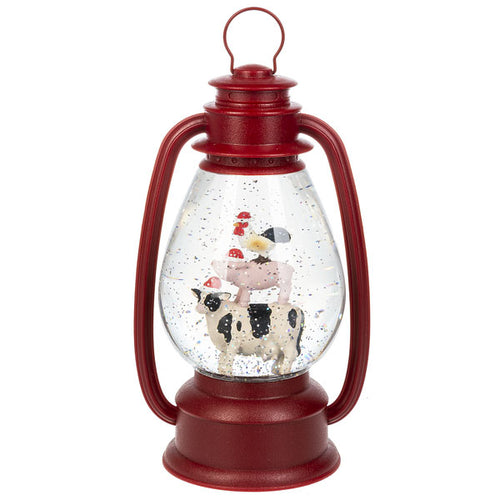 red lantern with stacked farm animals