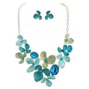 Silver Blue Bib Necklace and Earring Set - Smockingbird's