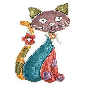 Silver & Multi-colored Enamel Cat Pin with Magnetic Closure - Smockingbird's