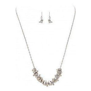 Silver Pebble Necklace and Earring Set - Smockingbird's