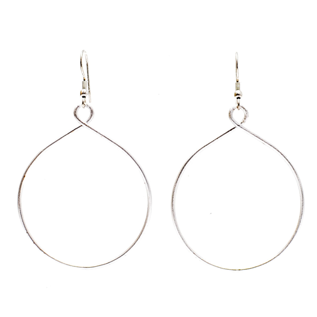 Silver Twisted Hoop Earrings - Smockingbirds's
