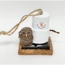 Load image into Gallery viewer, Snowman with Owl S'Mores Ornament - Smockingbird's