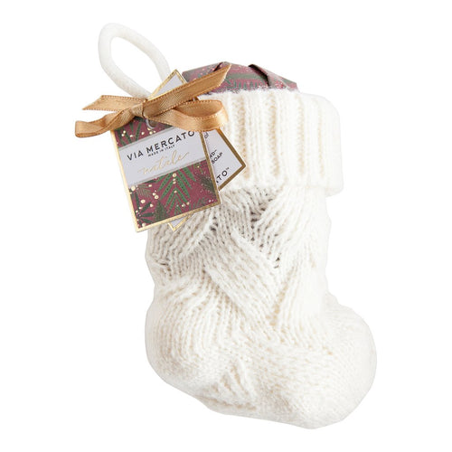 White Mini Stocking with Hand Wrapped Soap - Smockingbird's