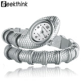 GEEKTHINK Unique Fashion Quartz Watch women Ladies Snake Shaped Bracelet Watch Bangle Diamond Ornaments Luxury Silver Gold