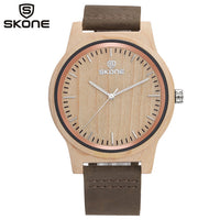 SKONE Original Luxury Men Bamboo Wood Watches Men Quartz Clock Fashion Casual Black Red Leather Strap Wristwatches Male Relogio