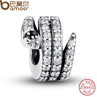 Gift 925 Sterling Silver Sparkling Snake, Clear CZ & Black Crystal Charms Fit  Bracelet Necklace DIY Jewelry PAS115