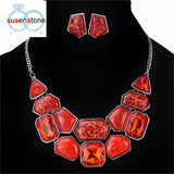 SUSENSTONE Necklace Earring Sets multi-Colorful Leaf Necklace Earrings Jewelry Sets Fashion Wedding Jewelry Set for Women