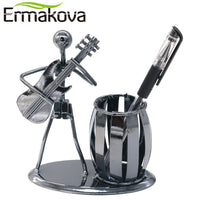 ERMAKOVA Metal Music Band Retro Electric Guitar Musician Figure Model Iron Man Brush Pot Pen Container Pen holder Office Decor