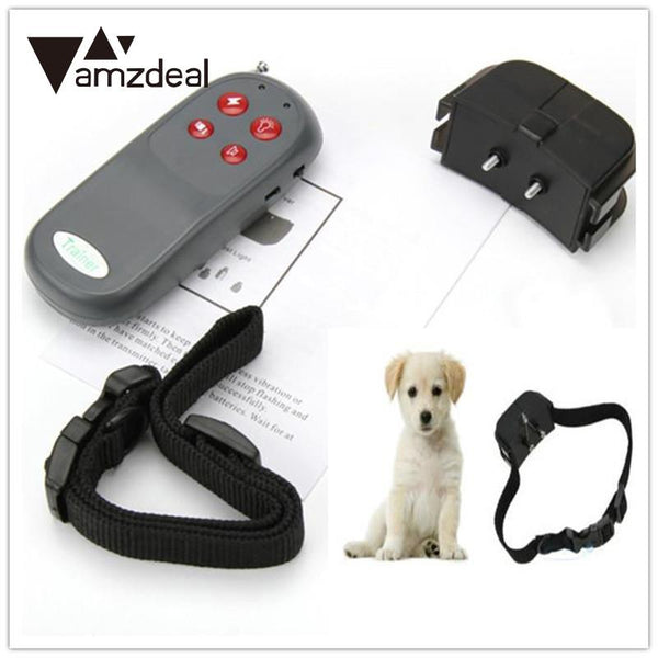 amzdeal New Useful Portable No Harm Electric 4 in 1 Remote Control Small Medium Dog Training Shock Vibrate Collar Anti Bark