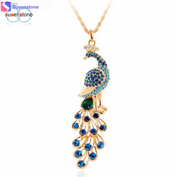 SUSENSTONE Fashion Plated Peacock Pendant Necklace Women's Jewelry