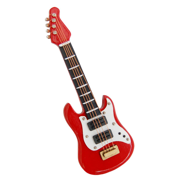 1Pcs Red Miniature Dollhouse Mini Toy Electric Guitar Wooden Doll House Miniatures 1:12 Accessories Guitar Toy