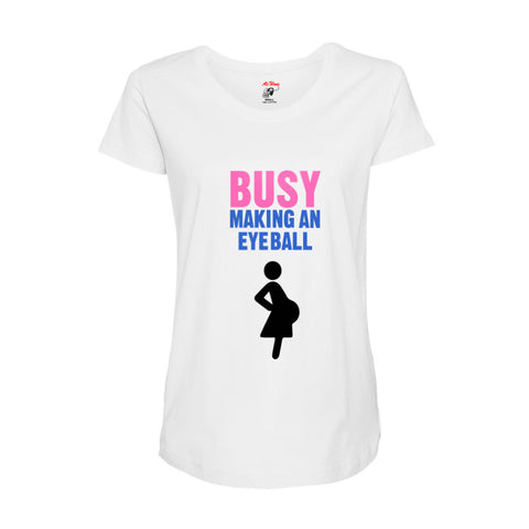 Busy Making An Eyeball Maternity Tee (White)