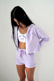 Lilac Ice Cream Cropped Zipper Hoodie