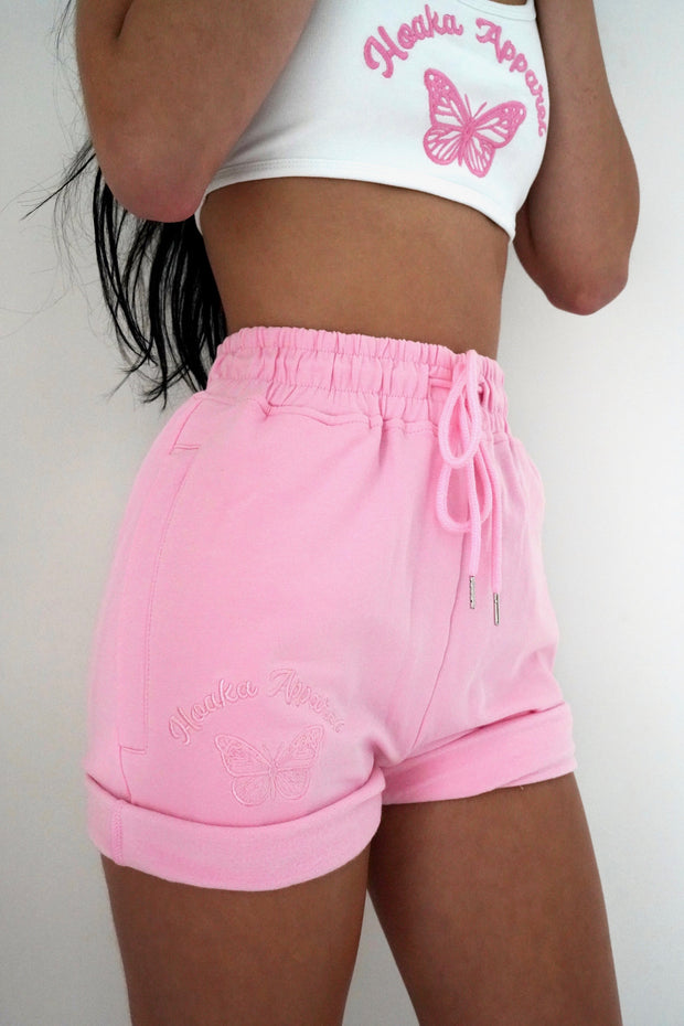 Pink Butterfly Sweat Shorts