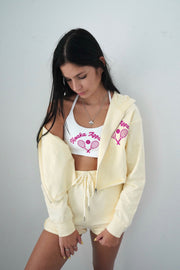 Yellow Tennis Cropped Zipper Hoodie