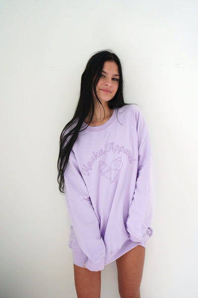 Lilac Ice Cream Crew Neck Sweatshirt