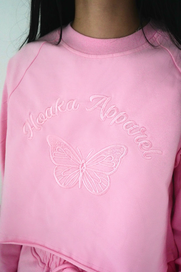 Pink Butterfly Crop Top Sweatshirt