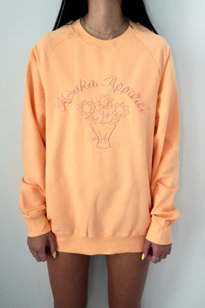 Orange Fleurs Crew Neck Sweatshirt