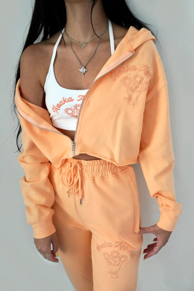 Orange Fleurs Cropped Zipper Hoodie