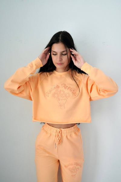 Orange Fleurs Crop Top Sweatshirt