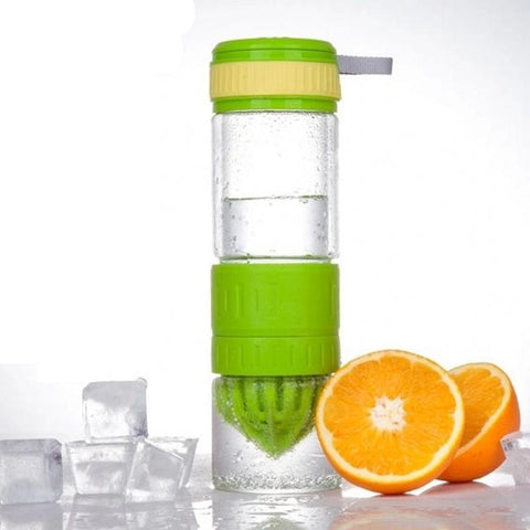green Glass Water Bottle with Fruit Squeezer