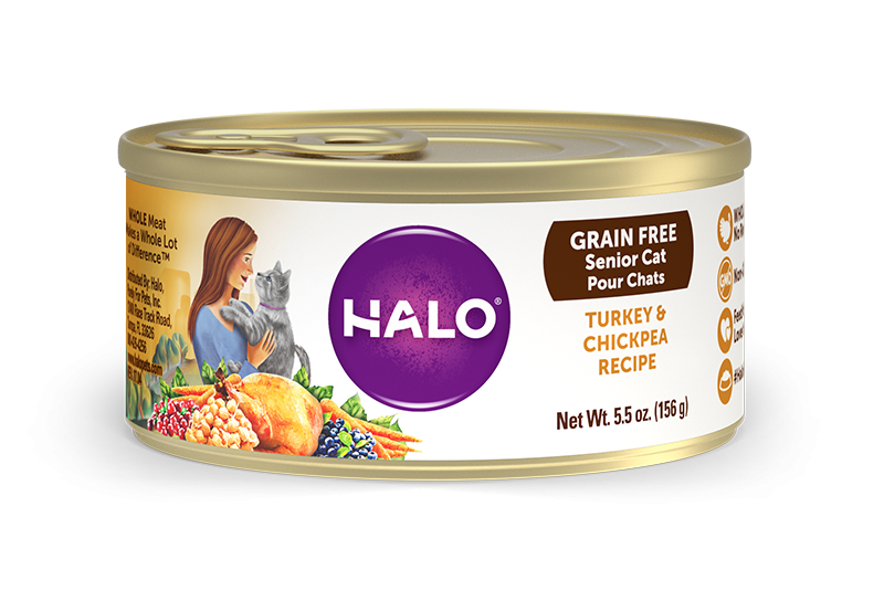 Halo Grain Free 7+ Senior Recipe Turkey and Chickpea Canned Cat Food