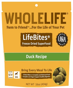 Whole Life LifeBites Grain Free Duck Recipe Freeze Dried SuperFood for Dogs