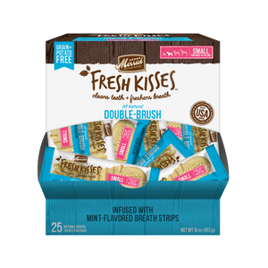 Merrick Fresh Kisses Grain Free Mint Breath Strips Small Dog Treat Box