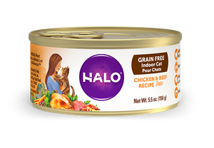 Halo Grain Free Indoor Cat Chicken & Beef Pate Canned Cat Food